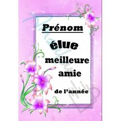 Elue meilleure AMIE floral prénom personnalisable sur faience idée cadeau anniversaire fete grand mères noel neuf emballé