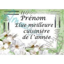 Élue meilleure cuisinière fleurs blanches sur faïence prénom au choix idée cadeau fête anniversaire noël neuve emballée