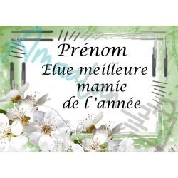 Élue meilleure mamie de l'année fleurs blanches sur faïence prénom au choix idée cadeau fête anniversaire noël neuve emballée