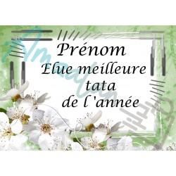 Élue meilleure tata de l'année fleurs blanches sur faïence prénom au choix idée cadeau fête anniversaire noël neuve emballée