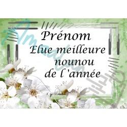 Élue meilleure nounou fleurs blanches sur faïence prénom au choix idée cadeau fête anniversaire noël neuve emballée