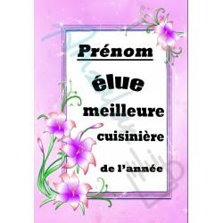 Elue meilleure CUISINIÈRE floral prénom personnalisable sur faience idée cadeau anniversaire fete grand mères noel neuf emballé