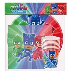 Lot vaisselles jetable 8 personnes assiettes verres et 20 serviettes pyjamasks enfant gouter d'anniversaire neuf