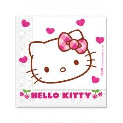 Lot de 20 Serviettes en papier Hello Kitty 33x33 cm enfant fille gouter d'anniversaire neuve