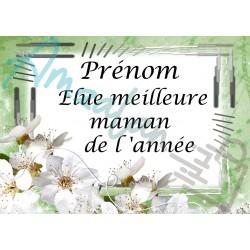 Élue meilleure maman de l'année fleurs blanches sur faïence idée cadeau fête anniversaire noël neuve emballé