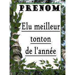 ÉLU MEILLEUR TONTON DE L'ANNÉE PLAQUE DECORATIVE SUR FAÏENCE IDÉE CADEAU ANNIVERSAIRE FÊTE NOËL NEUVE