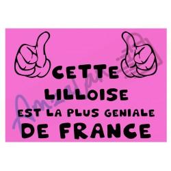Cette Lilloise est la + géniale de France fond rose plastifié idée cadeau anniversaire fête noel neuve emballée