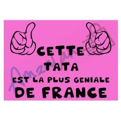 Cette tata est la + géniale de France fond rose plastifié idée cadeau anniversaire fête noel neuve emballée
