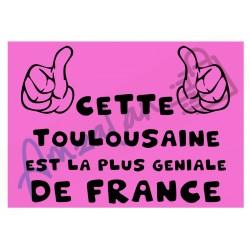 Cette Toulousaine est la + géniale de France fond rose plastifié idée cadeau anniversaire fête noel neuve emballée