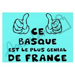 Ce Basque est le + génial de France fond bleu homme plastifié idée cadeau anniversaire fête noel neuve emballée