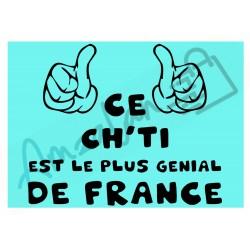 Ce Ch'ti est le + génial de France fond bleu homme plastifié idée cadeau anniversaire fête noel neuve emballée