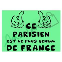 Ce Parisien est le + génial de France fond vert homme plastifié idée cadeau anniversaire fête noel neuve emballée