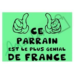 Ce parrain est le + génial de France fond vert homme plastifié idée cadeau anniversaire fête noel neuve emballée