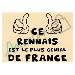 Ce Rennais est le + génial de France fond beige homme plastifié idée cadeau anniversaire fête noel neuve emballée