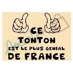Ce tonton est le + génial de France fond beige homme plastifié idée cadeau anniversaire fête noel neuve emballée