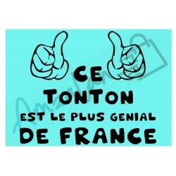 Ce tonton est le + génial de France fond bleu homme plastifié idée cadeau anniversaire fête noel neuve emballée