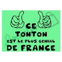 Ce tonton est le + génial de France fond vert homme plastifié idée cadeau anniversaire fête noel neuve emballée