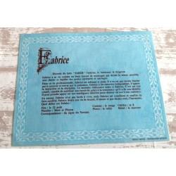 """Signification du prénom """" FABRICE """" idée cadeau original fête des pères grands pères noel neuf"""