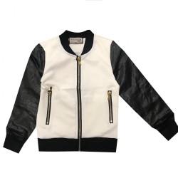 Blouson veste manteau zippé manche simili BLANC/NOIR mixte du 4 ans au 16 ANS vêtement idée cadeau anniversaire noel neuf