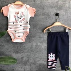 Ensemble body bébé fille manches courtes + legging 3/4 imprimé Marie Aristochats du 3 au 12 mois idée cadeau naissance noel neuf
