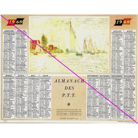 Calendrier de naissance plastifié année 1968 v02 Idée cadeau original anniversaire fête noël neuf