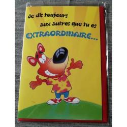 Carte postale double avec enveloppe fête anniversaire pour enfant chien humour neuve