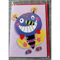 Carte postale double avec enveloppe fête anniversaire pour enfant abeille coloriage neuve