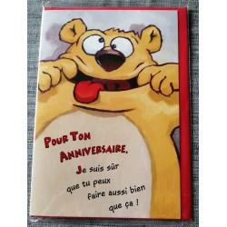 Carte postale double avec enveloppe fête anniversaire pour enfant ours humour neuve