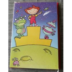 Carte postale double avec enveloppe fête anniversaire pour enfant martiens coloriage neuve