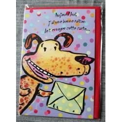 Carte postale double avec enveloppe fête anniversaire pour enfant chien neuve