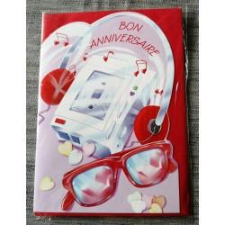 Carte postale double avec enveloppe fête anniversaire pour enfant music découpée neuve