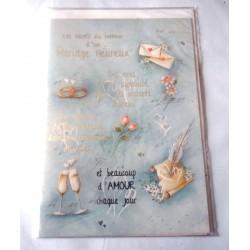 Carte postale double avec enveloppe mariage anniversaire félicitation poème neuve