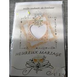 Carte postale double avec enveloppe félicitation mariage cœur orange neuve