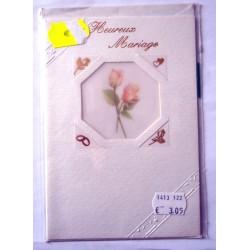 Carte postale double avec enveloppe félicitation mariage découpe floral neuve