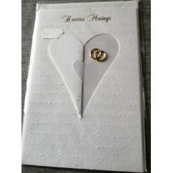 Carte postale double neuve avec enveloppe félicitations heureux MARIAGE prédécoupé cœur neuve