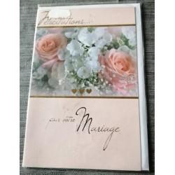 Carte postale double neuve avec enveloppe félicitations MARIAGE floral neuve