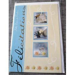 Carte postale double neuve avec enveloppe félicitations MARIAGE bleu jaune neuve