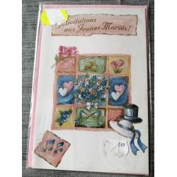 Carte postale double neuve avec enveloppe félicitations MARIAGE jeune mariés neuve