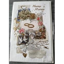 Carte postale double neuve avec enveloppe félicitations heureux MARIAGE neuve