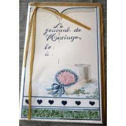 Carte postale double avec enveloppe journal mariage invitation jaune neuve