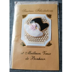 Carte postale double neuve avec enveloppe meilleurs voeux de bonheur MARIAGE neuve