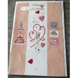 Carte postale double neuve avec enveloppe heureux MARIAGE félicitations neuve