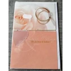 Carte postale double neuve avec enveloppe heureux MARIAGE voeux bonheur neuve