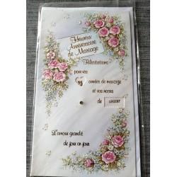 Carte postale double avec enveloppe félicitations anniversaire MARIAGE multi dates neuve