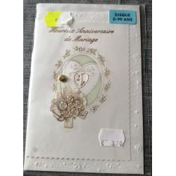 Carte postale double avec enveloppe heureux anniversaire de MARIAGE multi dates neuve