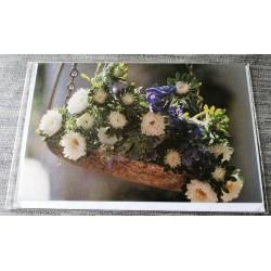Carte postale double avec enveloppe fête diverses anniversaire etc....sans texte fleurs neuve