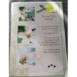 Carte postale double avec enveloppe bonne fêtes maman fleurs blanches neuve