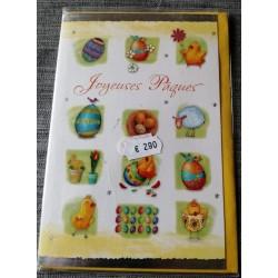 Carte postale double avec enveloppe joyeuses pâques multicolore neuve