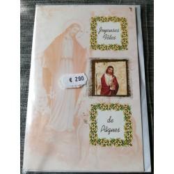 Carte postale double avec enveloppe joyeuses pâques religion christ neuve