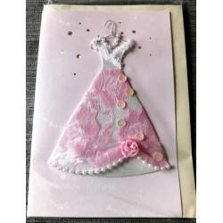 Carte postale double avec enveloppe fête diverses anniversaire etc...sans texte robe collée neuve